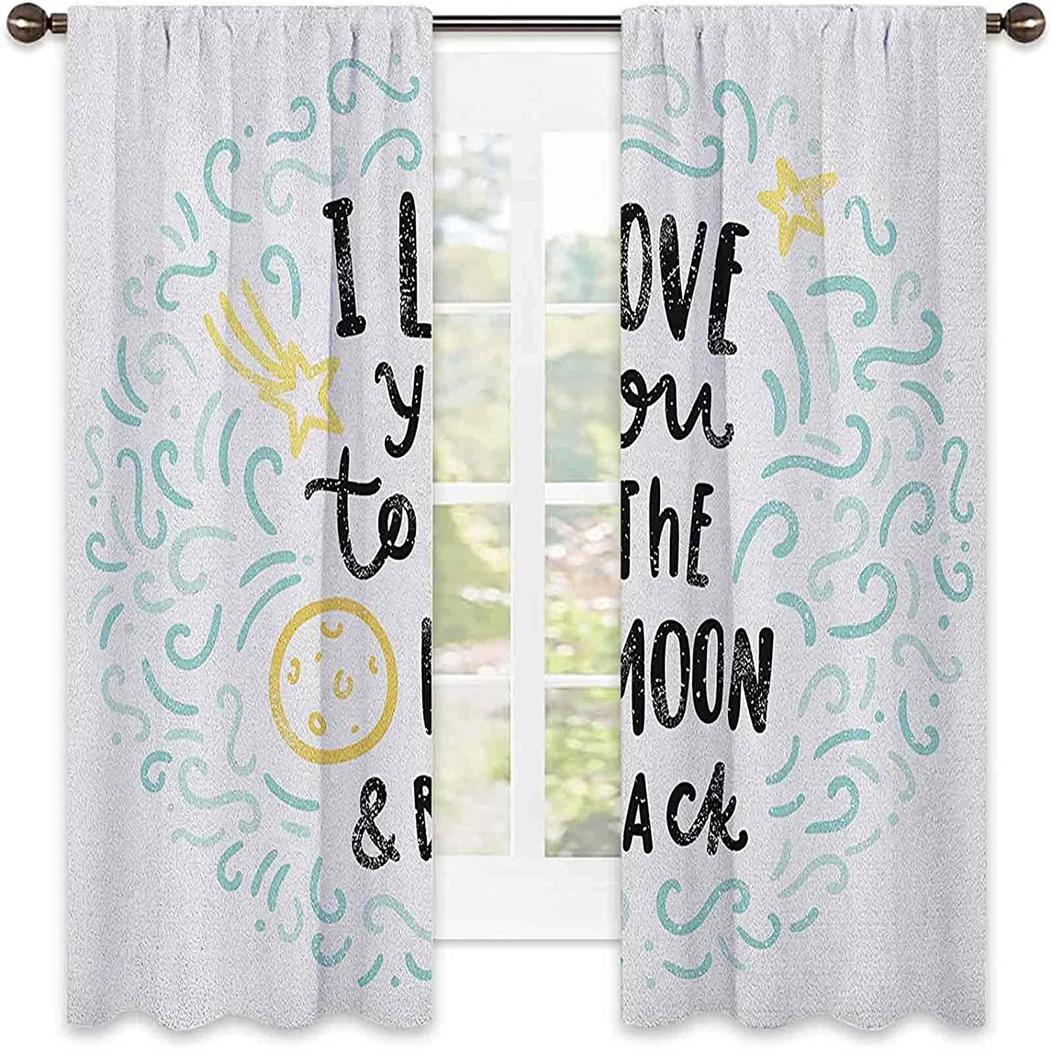 I Love You Bedroom Rod Pocket Blackout Style Curtain 2021 Cartoon OFFicial site Dr