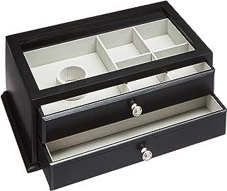 AmazonBasics Wooden Jewelry/Watch Box with Glass Top - 2-Drawer, Black (Renewed)