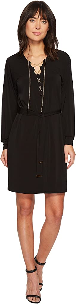 MICHAEL Michael Kors Chain Lace-Up Long Sleeve Dress