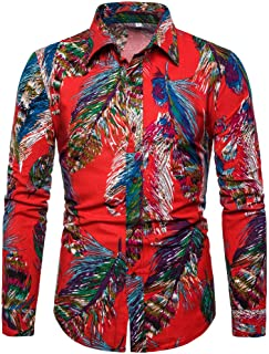 IHGTZS Shirts for Men, Men's Summer Fashion Business Leisure Printing Long-Sleeved Shirt Top Blouse