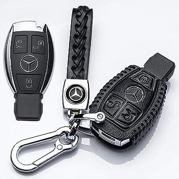 1797 Compatible Key Fob for Mercedes Benz Accessories Holder Cover Chain Case Leather W204 W205 W212 W213 W222 C117 X156 C E S CLA GLA GLK Class 2 Button Remote Key Protector Shell Women Men Black Red