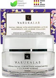 Crema hidratante antiarrugas con ácido hialurónico vitamina C colágeno marino y protección solar SPF30 + luz azul. Trata...