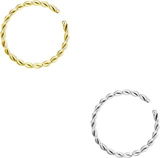 Forbidden Body Jewelry 14g-20g Set of Surgical Steel Braided Hoops for Pierced and Fake Nose & Cartilage Piercings