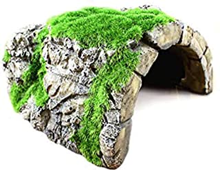 Betta Rock Cave, Fish Hideout for Shelter, Resting, Sleeping, Swimming, Natural-Looking Cave with Artificial Moss, Suitabl...