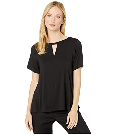 Donna Karan Modal Spandex Jersey Short Sleeve Top (Black) Women