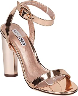 cfd5634410d CAPE ROBBIN Women Metallic Leatherette Open Toe Ankle Strap Block Heel  Sandal HJ24