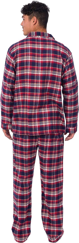 PLATINUM SPORT Mens Flannel Plaid Pajamas with 2 Pockets and Drawstring