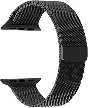 Priefy Watch Strap Magnetic Closure Compatible with iWatch Series 4 {44mm Black}