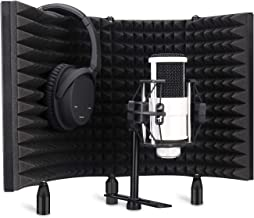 Aokeo Professional Studio Recording Microphone Isolation Shield,Pop Filter.High density absorbent foam is used to filter vocal. Suitable for blue yeti and any condenser microphone recording equipment