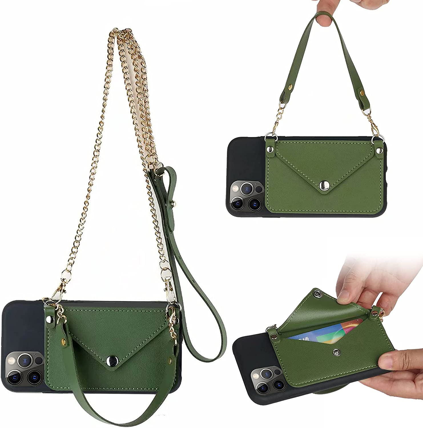 Ostop Compatible with Moto G 5G Wallet Case Crossbody Leather Adjustable and Detachable Shoulder Strap for Women,Ultra Thin Purse Silicone Soft Back Case with Credit Card,Green