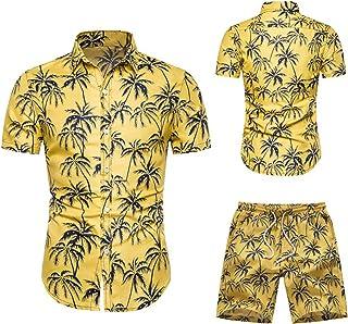 BIBOKAOKE Men's Shirt Shorts Set Hawaiian Flowers Printed Leisure Suit Fashion Floral Stand-Up Collar T-Shirt + Shorts Two...