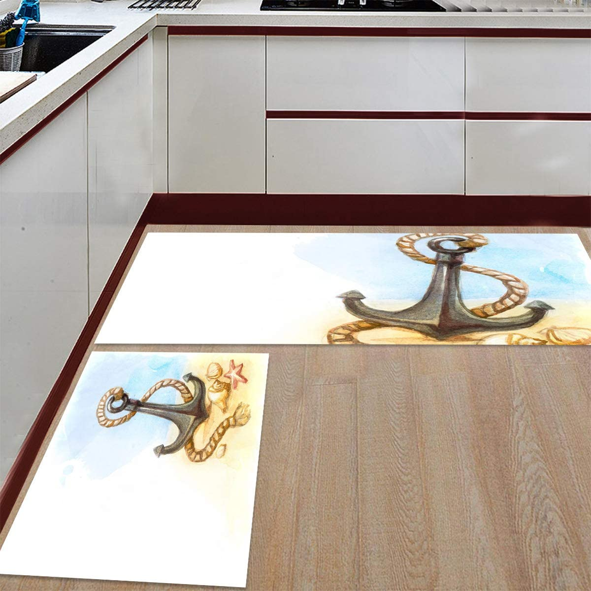 Advancey 2 Pieces Anti-Slip Directly managed store Kitchen Bei Mats Seattle Mall Watercolor Painting