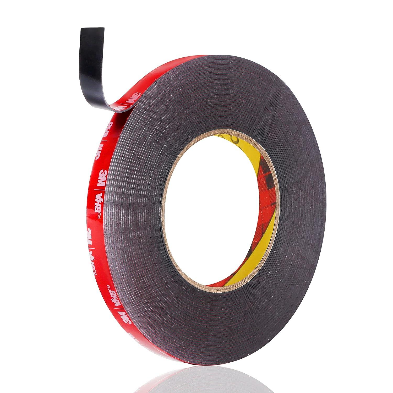3M Double Sided Tape, Waterproof Heavy Duty Foam Tape, 36.5FT Length, 0.4 Inch Width for Car, Home Decor, Office Decor