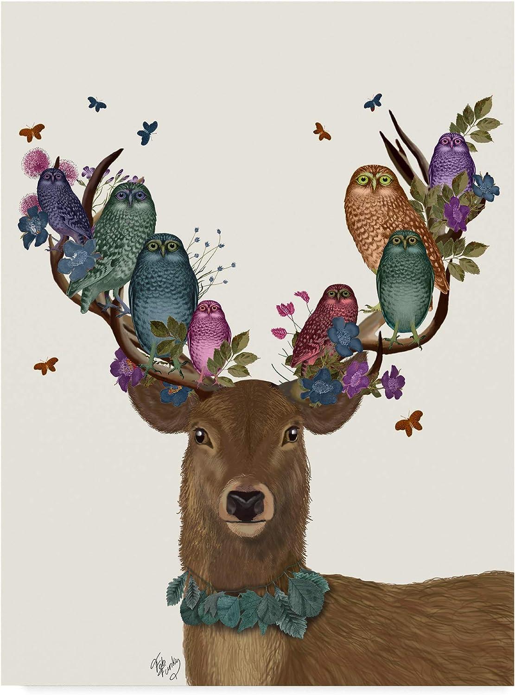 Trademark Fine Art Deer Birdkeeper, Owls by Fab Funky Wall Decor, 14x19(WAG00174C1419GG)