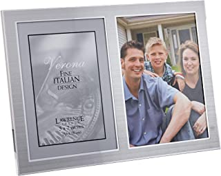 Lawrence Frames 2-Tone Double Opening Panel Picture Frame, 5 by 7-Inch, Brushed Silver Metal and Shiny Metal