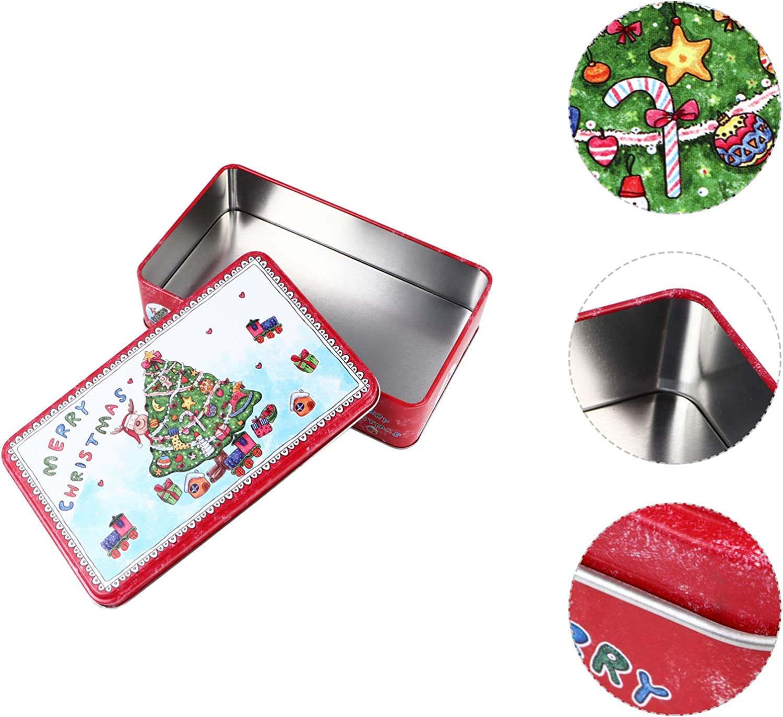 TOYANDONA Cajas de Dulces de Hojalata de Navidad Latas de Metal de Navidad Caja de Galletas Cajas de Regalo de Hojalata con Tapa con Patr/ón de Santa Claus para Decoraci/ón Colgante de /Árbol