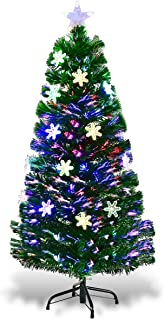 Goplus 4ft Pre-Lit Fiber Optic Artificial Christmas Tree with Multicolor Led Lights and Snowflakes