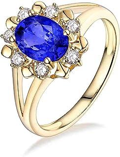 Daesar Anello Oro Giallo Donna 18K,Anelli di Fidanzamento Anello con Tanzanite 1.16ct Fiore Anelli Oro Giallo