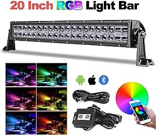 RGB LED Light Bar 20 Inch, Teochew-LED 5D Color Changing CREE LED Bar Bluetooth Control Chasing RGB Light Bar Spot Flood Combo Light with Wiring Harness RGB Driving Light for Truck ATV UTV RZR 4X4