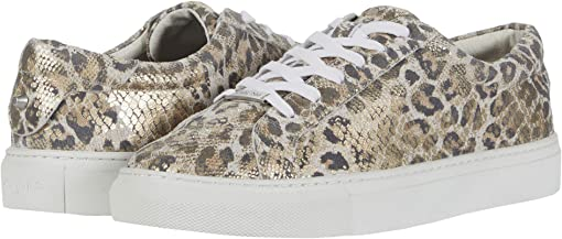 Gold/White Leather Leopard Snake Print