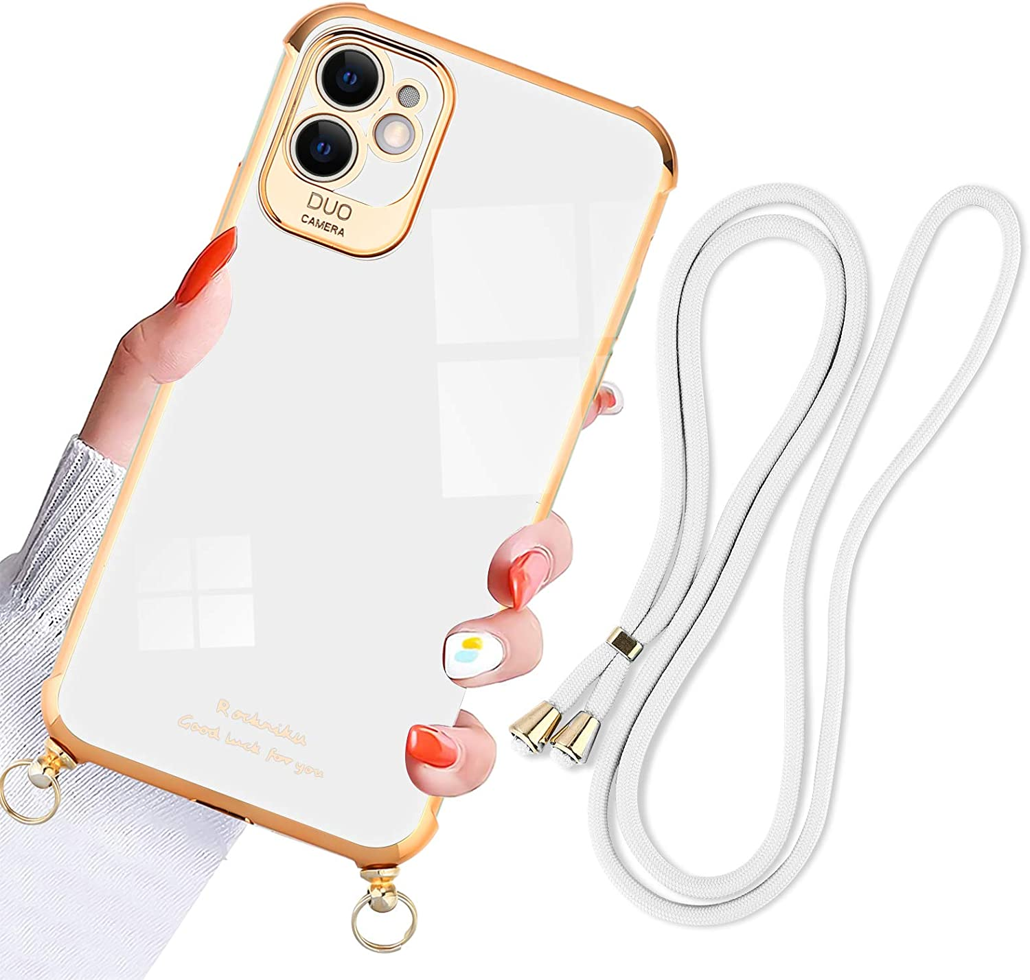 KANGHAR iPhone 11 Case 6.1 Inch 2019 Plating with Lanyard Scalable Adjustment Ultra-Thin Soft TPU Shockproof Durable Electroplate Edge Cover for iPhone 11(White)