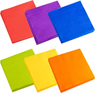 Cocktail Napkins, Spnavy 120 Pieces 5X5 Inch Beverage Luncheon Paper Napkins Colorful 2 Ply Dinner Napkins for Anniversary Decoration Birthday Party Supplies, 6 Colors