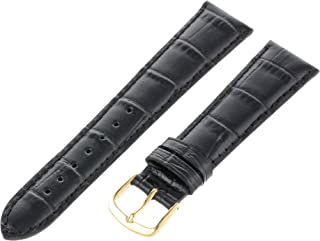 Hadley-Roma Men`s MSM835RA-180 18-mm Black Genuine Italian Calfskin Leather Watch Strap
