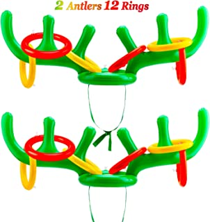 Konsait Christmas Party Games Reindeer Ring Toss Set(2Pack), Inflatable Reindeer Antler Ring Toss Game for Kids Children for Xmas Party Reindeer Games Christmas Party Games Favors Supplies