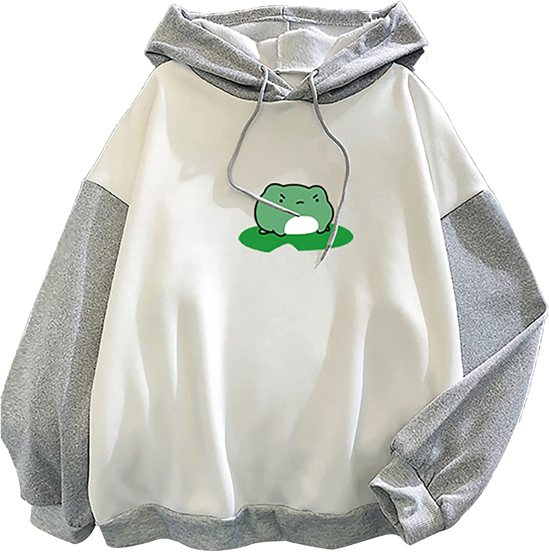 MIVAMIYA Womens Cute Fog Print Long Sleeve Hoodie Drawstring Color Block Hooded Pullover Sweatshirt Oversized Tunic Tops