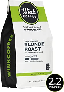 Wink Coffee Blonde Roast, Whole Bean Coffee, 100% Arabica, Large 2.2 Pound Bag, Colombian Single Origin, Smooth, Light, and Complex, Sustainable Sourcing