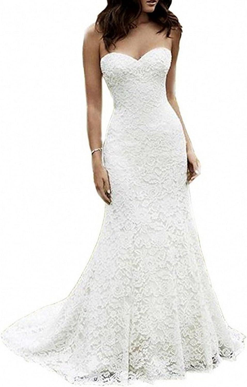 shipfree SIQINZHENG Women's Sweetheart Full Lace Wedding Merm Dress El Paso Mall Beach