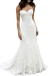 dd27aeef07e SIQINZHENG Women s Sweetheart Full Lace Beach Wedding Dress Mermaid Bridal  Gown