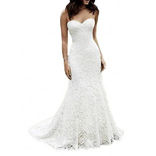 5e9ed196620c3 SIQINZHENG Women's Sweetheart Full Lace Beach Wedding Dress Mermaid Bridal  Gown White