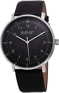 August Steiner Men's Minimalist Dress Watch - Case on Genuine Leather Strap