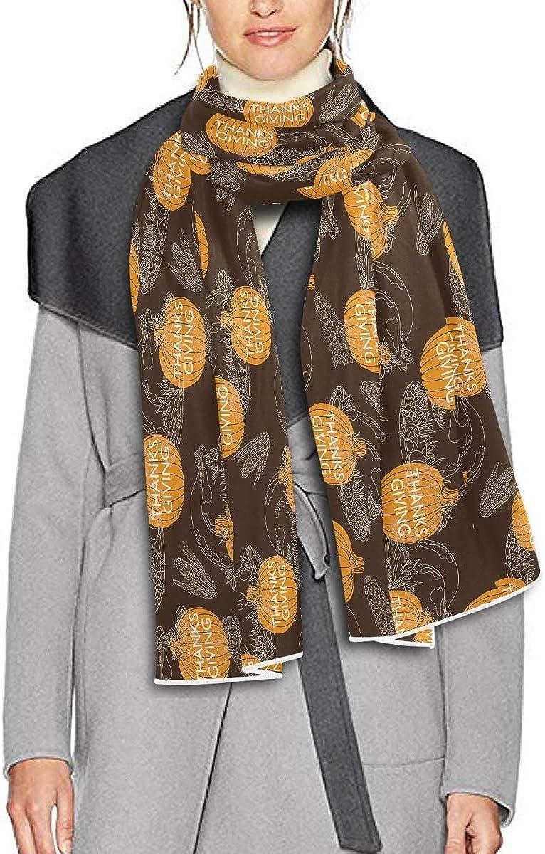 Scarf for Women and Men Thanksgiving Turkey Pumpkin Leaves Shawl Wraps Blanket Scarf Soft warm Winter Oversized Scarves Lightweight