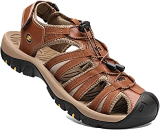 Mens Sandals Sports Outdoor Hiking Sandals Leather Walking Sandal Shoes Summer Casual Athletic Beach Comfortable Toecap Ad...