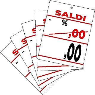 CARTELLINO in CARTONCINO SCONTO Percentuale PREZZO 100 PEZZI da complilare ideali per saldi e promozioni