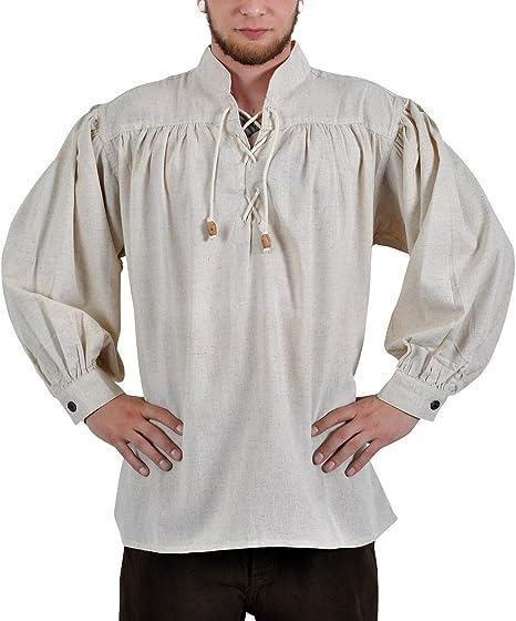 Medieval hombre Camisa: Adalberto, con cordones, color natural