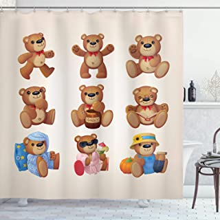 Ambesonne Cartoon Shower Curtain, Happy Toy Teddy Bears with Funny Different Faces Nostalgic Kids Design, Cloth Fabric Bathroom Decor Set with Hooks, 70