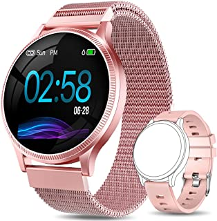 AIMIUVEI Smartwatch Mujer, Reloj Inteligente Mujer con Pulsómetro, Impermeable IP67, Presión Arterial, Monitor de Sueño Ca...