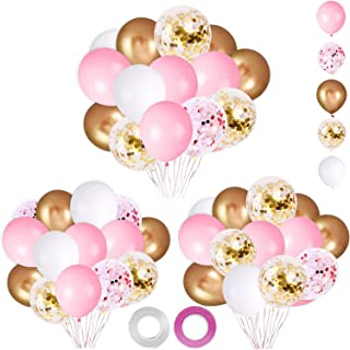 62Pcs Pink Gold Confetti Latex Balloons Kit - 12 Inch Pink White Gold Helium Round Balloons Party Supplies for Confession ...