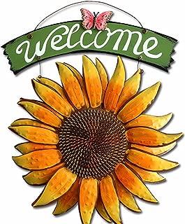 D-Fokes Handcrafts Vintage Metal Butterfly Sunflower Welcome Sign Front Door Decor Hanging Outdoor Wreath Decorative Door Porch Bar Cafe Shop Store