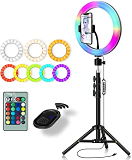RGB Color Ring Light: Yingnuost 10 inch Led Remote Control Circle Lamp with Phone Holder & Camera Tripod Stand for Photogr...