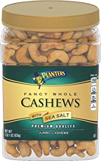 Planters Fancy Whole Cashews With Sea Salt, 33 Oz. Resealable Jar - Snack For Adults Made With Simple Ingredients - Good S...