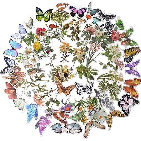 120pcs Stickers Autocollants Fleurs Papillons Plantes Auto-adhésif Gommette Sticker Scrapbooking Note Flower Décoration DIY Cadeau pour Album Journal Livres Ordinateur Portable