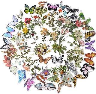 120pcs Stickers Autocollants Fleurs Papillons Plantes Auto-adhésif Gommette Sticker Scrapbooking Note Flower Décoration DI...