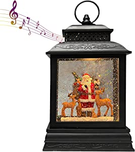 GOOSH Lighted Christmas Snow Globe Lantern, Santa Claus with Gift, Reindeer in Musical Decoration with Battery Operated LED Water Glittering Music Playing with 6H Timer, Christmas Home Décor and Gift