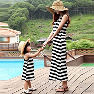 WensLTD Mommy and Me Family Matching Stripe Girls Kids Stitching Dress Casual Family Clothes