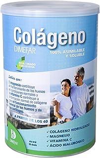 DIMEFAR - Colágeno Hidrolizado en Polvo - Mantenimiento Articulaciones + Músculos - Colágeno + Vitamina C + Magnesio + Ácido Hialurónico. 350g | Colágeno en Polvo para Músculos y Articulaciones