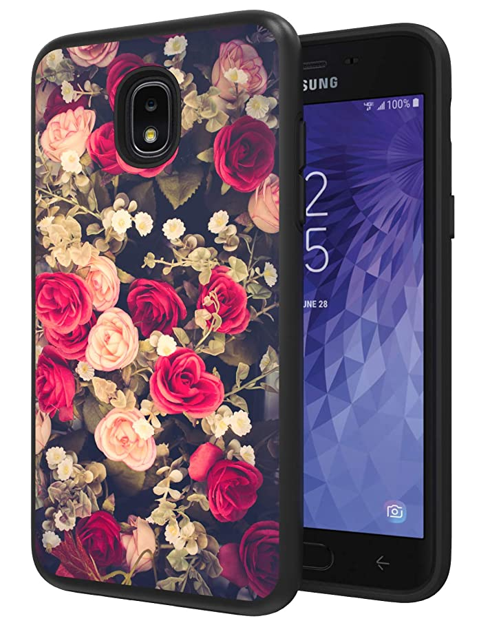 Galaxy J3 Achieve Phone Case, J3 Orbit Case, J3 Star Case, ANLI [Fashion Flowers Design] Drop Protection Hybrid Dual Layer Armor Protective Case Cover for Girls and Women Black